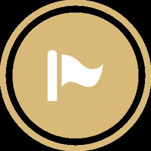 symbole - icone - picto illustrant les chiffres clés de la société - sigle représentant l'année de création du cabinet couleur or (charte du cabinet d'Estelle Fontanès) cabinet d'expertise comptable