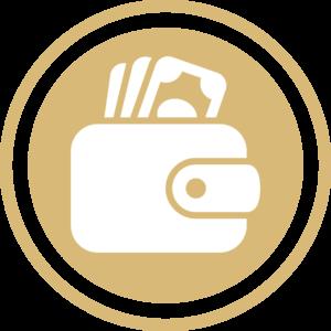 symbole - icone - picto illustrant la fiscalité - porte monnaie de couleur or (charte du cabinet d'Estelle Fontanès)