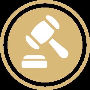symbole - icone - picto illustrant la mission du juridique de couleur or (charte du cabinet d'Estelle Fontanès) cabinet d'expertise comptable