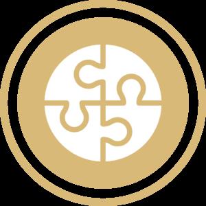 symbole - icone - picto illustrant les chiffres clés de la société - sigle représentant les missions du cabinet couleur or (charte du cabinet d'Estelle Fontanès) cabinet d'expertise comptable