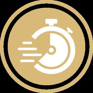 symbole - icone - picto illustrant les valeurs de la société fontanès - sigle de la réactivité - couleur or (charte du cabinet d'Estelle Fontanès) cabinet d'expertise comptable